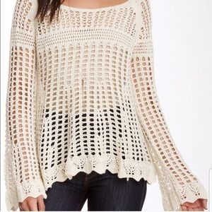 [Free People] Coral Crocheted Oversized Knit Top